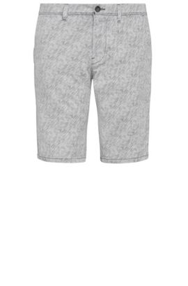 'Slender Shorts W' | Slim Fit, Stretch Cotton Striped Shorts, Natural
