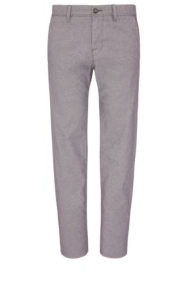 Stretch Cotton Trousers, Tapered Fit | Stapered W, Dark Blue