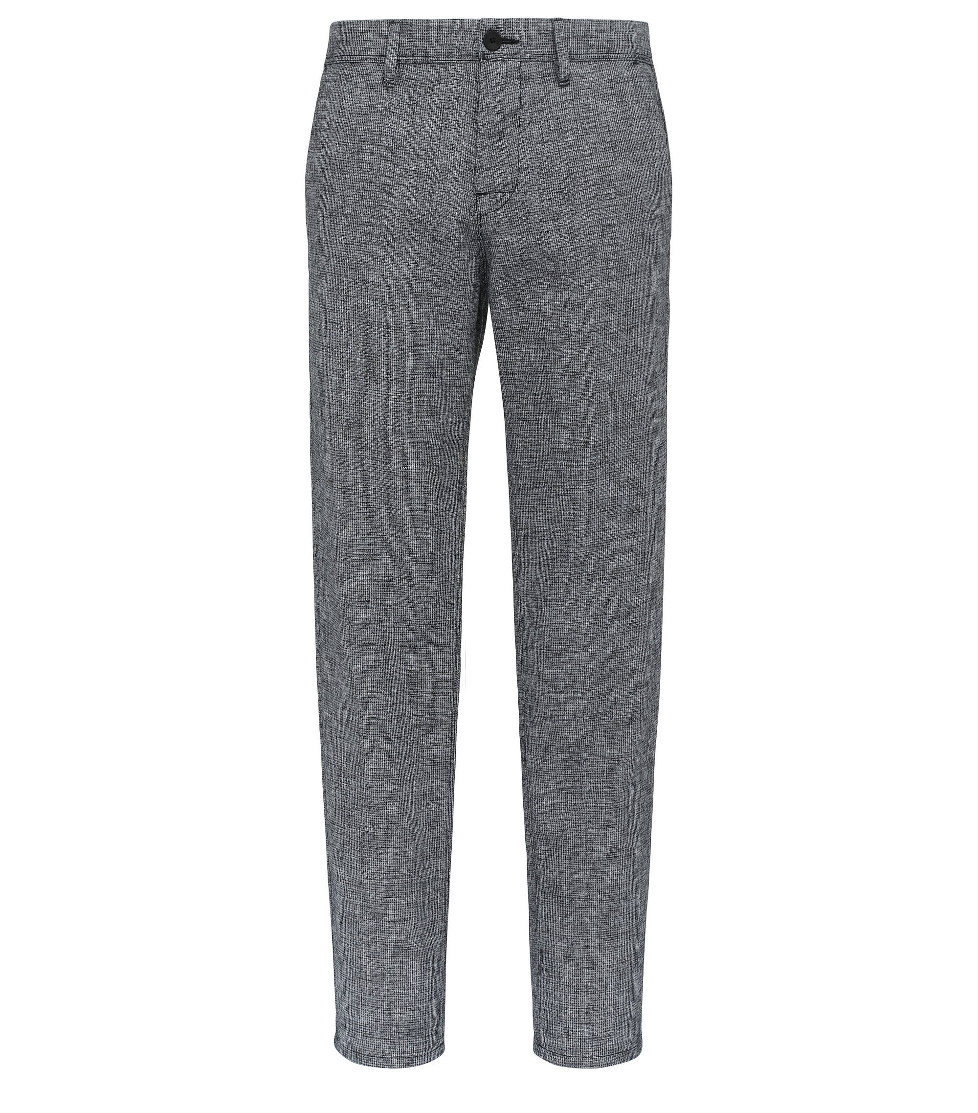 Cotton Linen Blend Trousers, Tapered Fit | Stapered W, Dark Blue