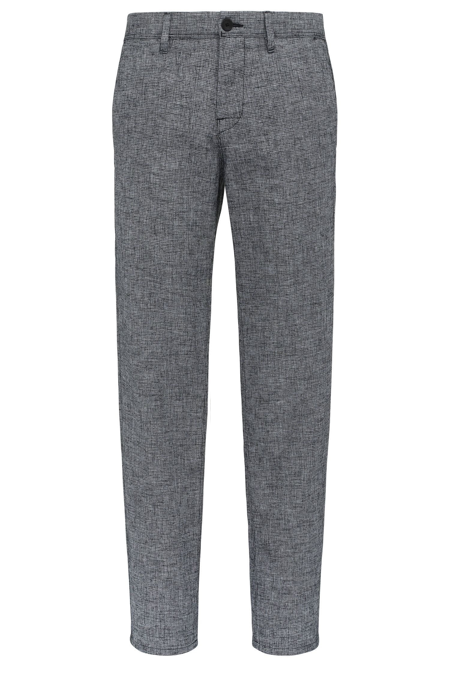 'Stapered W' | Tapered Fit, Cotton Linen Blend Trousers