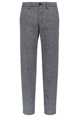'Stapered W' | Tapered Fit, Cotton Linen Blend Trousers, Dark Blue