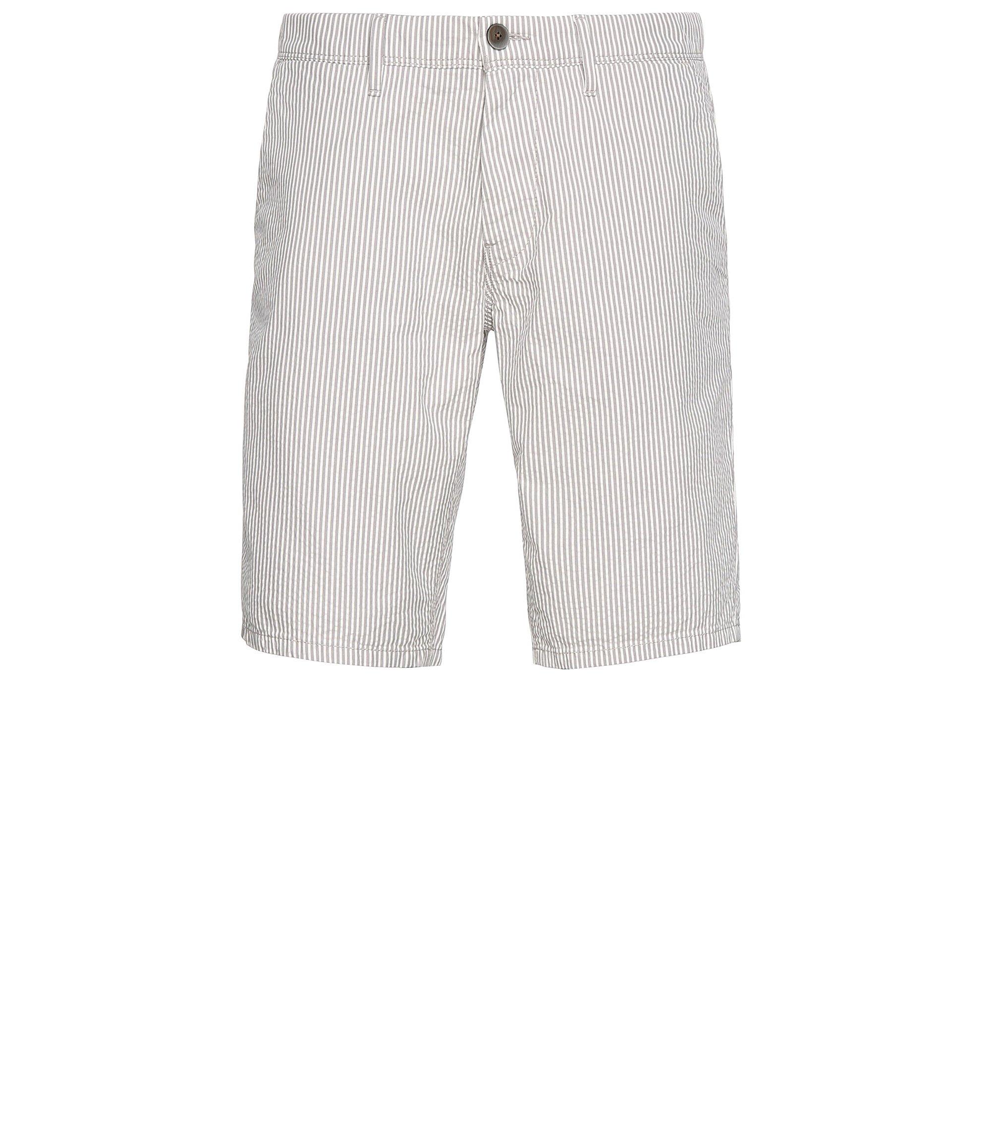 Seersucker Cotton Shorts | Slender Shorts W, Open White