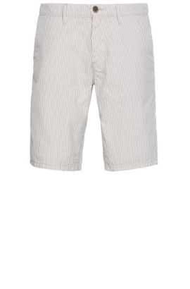 'Slender Shorts W' | Seersucker Cotton Shorts, Open White