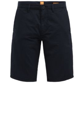 'Slender Shorts W' | Seersucker Cotton Shorts, Dark Blue