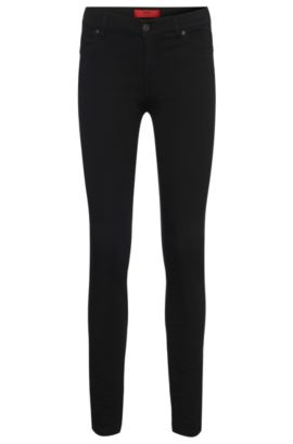 'Georgina'   Stretch Cotton Blend Mid-Rise Jeans, Black