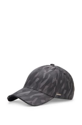 'Secamo' | Cotton Blend Patterned Baseball Cap, Charcoal