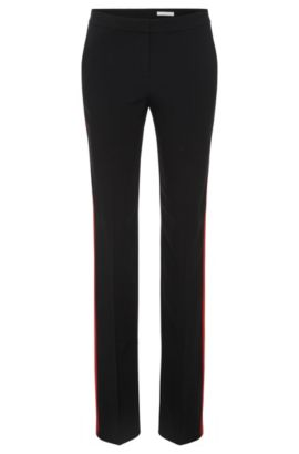 'Tatila' | Crepe Satin Racing Stripe Dress Pants, Black