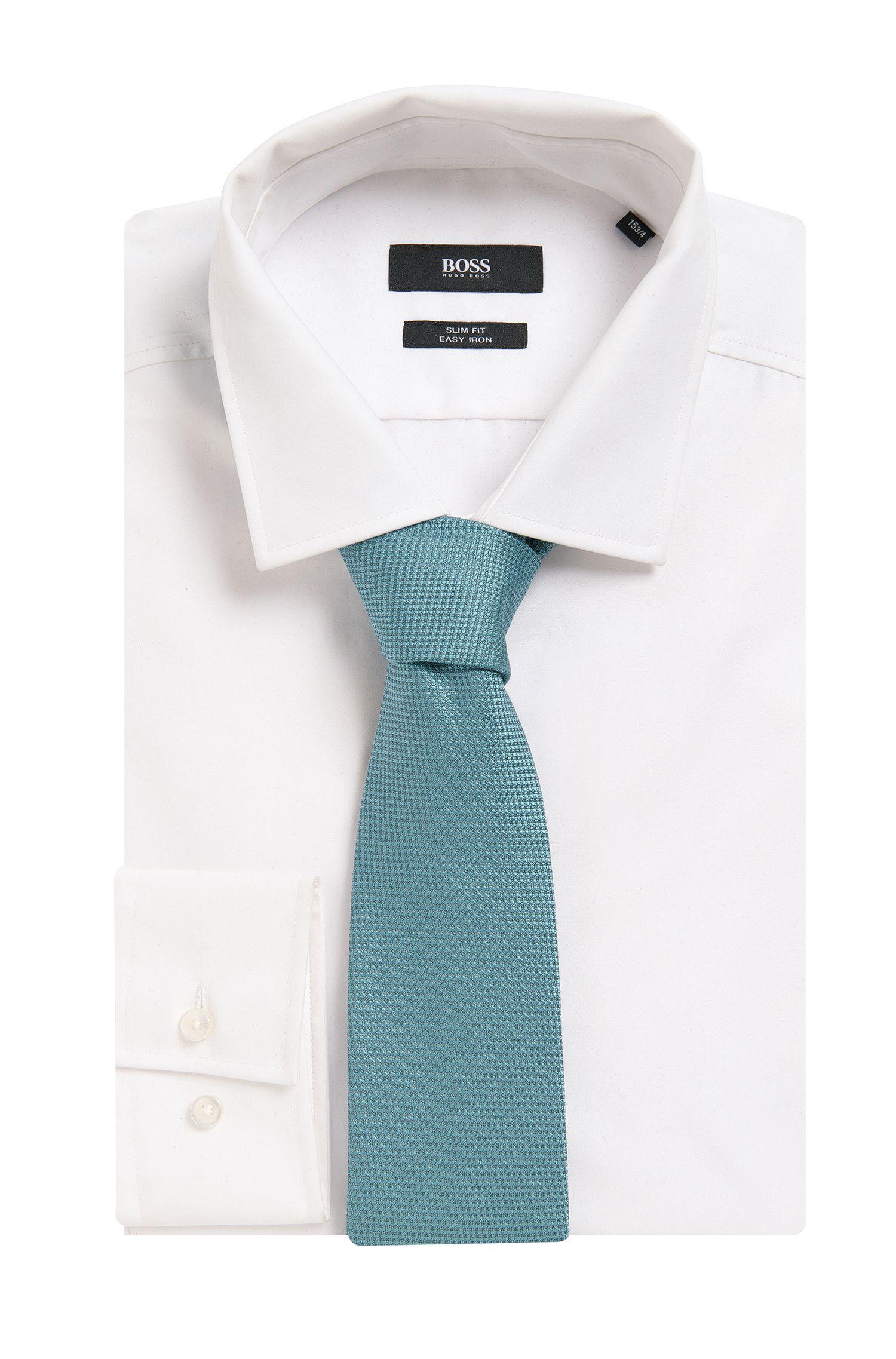 Embroidered Silk Tie, Regular | Tie 7.5 cm, Open Green