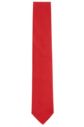 Embroidered Silk Tie, Regular | Tie 7.5 cm, Red