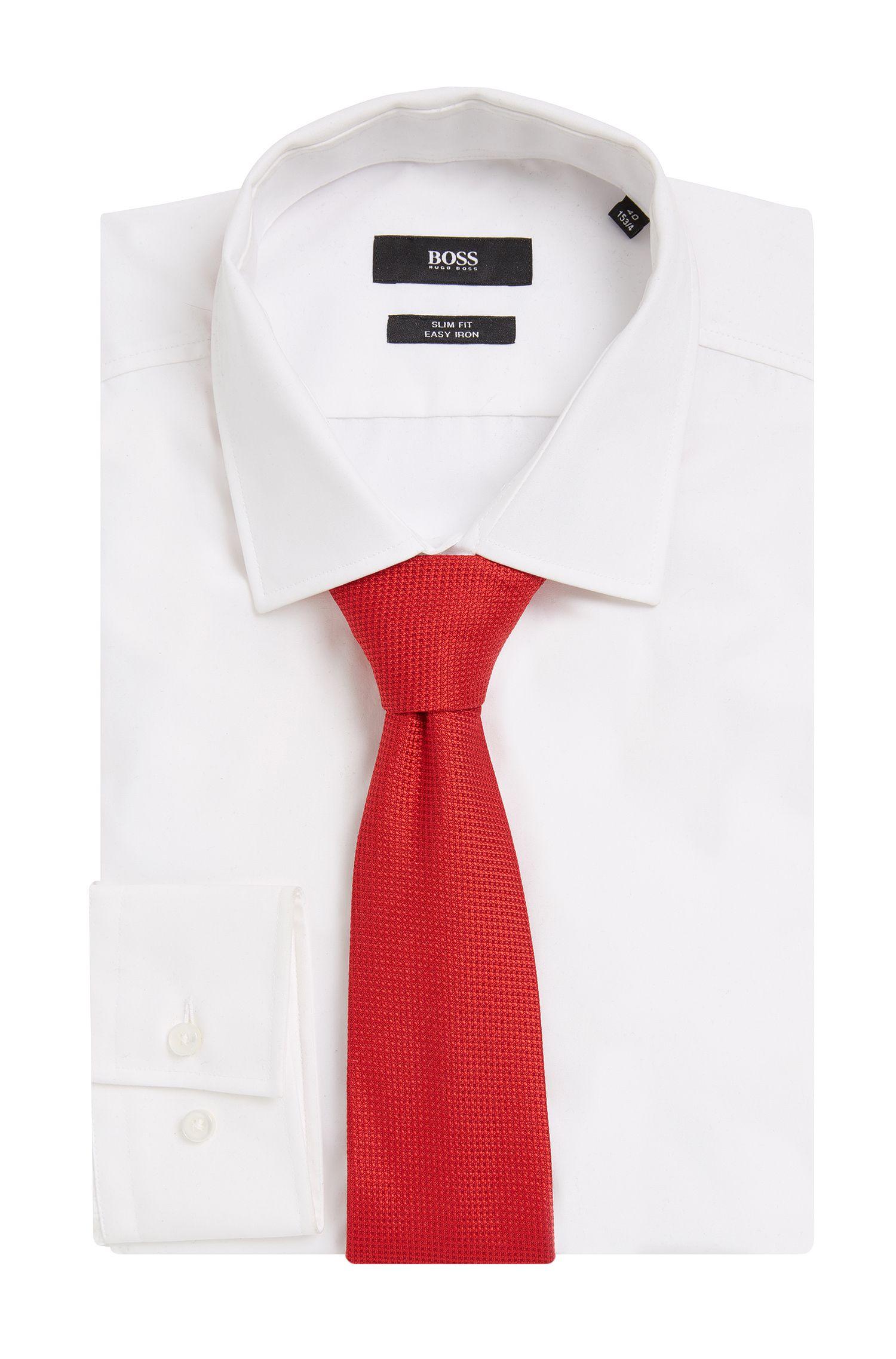 Embroidered Silk Tie, Regular | Tie 7.5 cm, Red