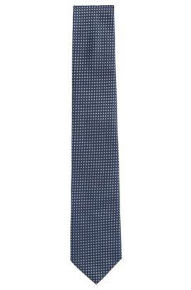 'Tie 7.5 cm' | Regular, Italian Silk Embroidered Tie, Blue