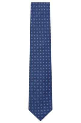 Patterned Italian Silk Tie, Blue