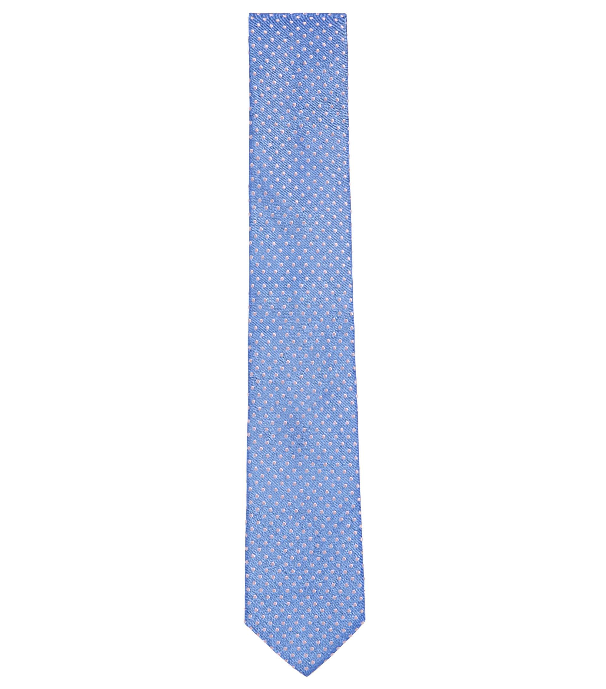 Patterned Italian Silk Tie, Blue