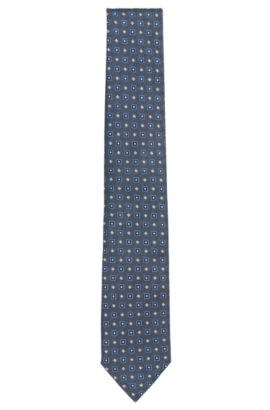 Patterned Italian Silk Tie, Open Blue
