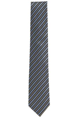 Embroidered Silk Tie, Regular | Tie 7.5 cm, Charcoal