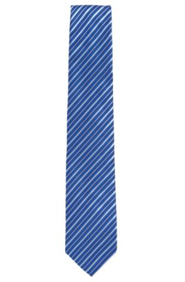 Embroidered Silk Tie, Regular | Tie 7.5 cm, Blue