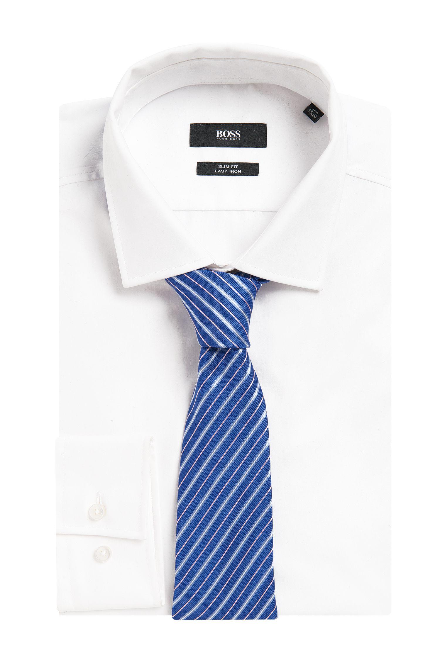 Embroidered Silk Tie, Regular | Tie 7.5 cm, Blue