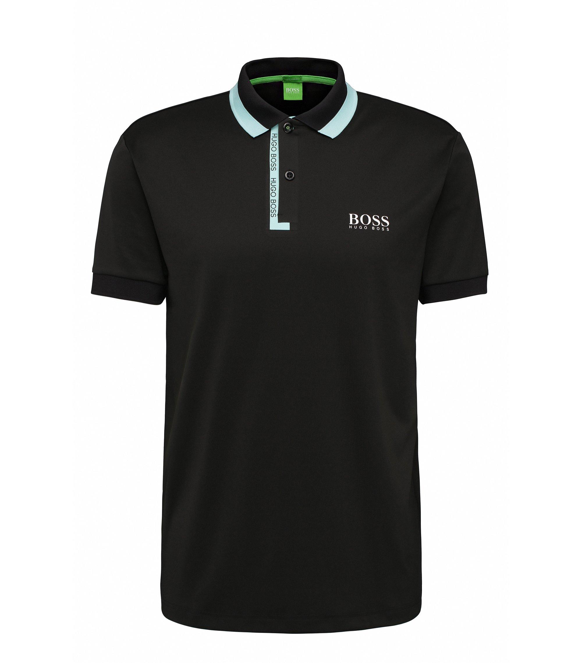 Stretch Logo Polo Shirt, Regular Fit | Paddy Pro, Black