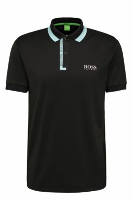 Stretch Logo Polo Shirt, Regular Fit | Paddy Pro, Black