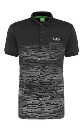 Printed Polo Shirt, Slim Fit | Paule Pro, Black