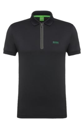 Stretch Techno Jersey Polo Shirt, Slim Fit | Pavotech, Black