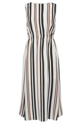 'Hemsy' | Silk A-Line Striped Dress, Patterned