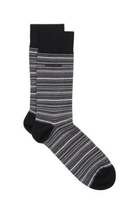 'RS Design US' | Striped Stretch Cotton Blend Socks, Black
