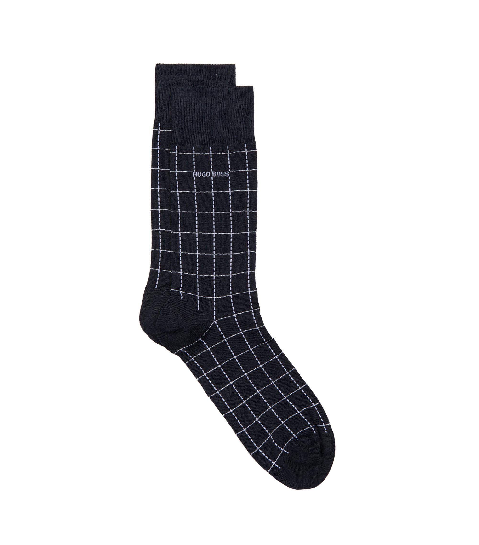 Checked Stretch Cotton Blend Socks | RS Design US, Dark Blue