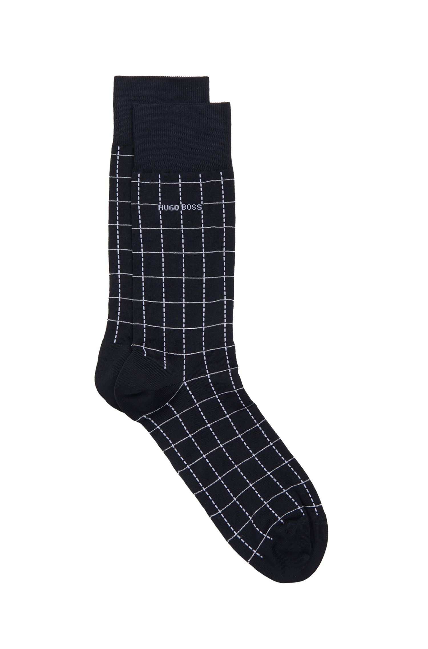 Checked Stretch Cotton Blend Socks | RS Design US