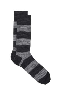 Striped Stretch Cotton Blend Socks | RS Design US, Black