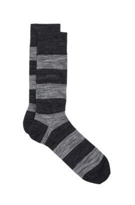 'RS Design US' | Striped Stretch Cotton Blend Socks, Black