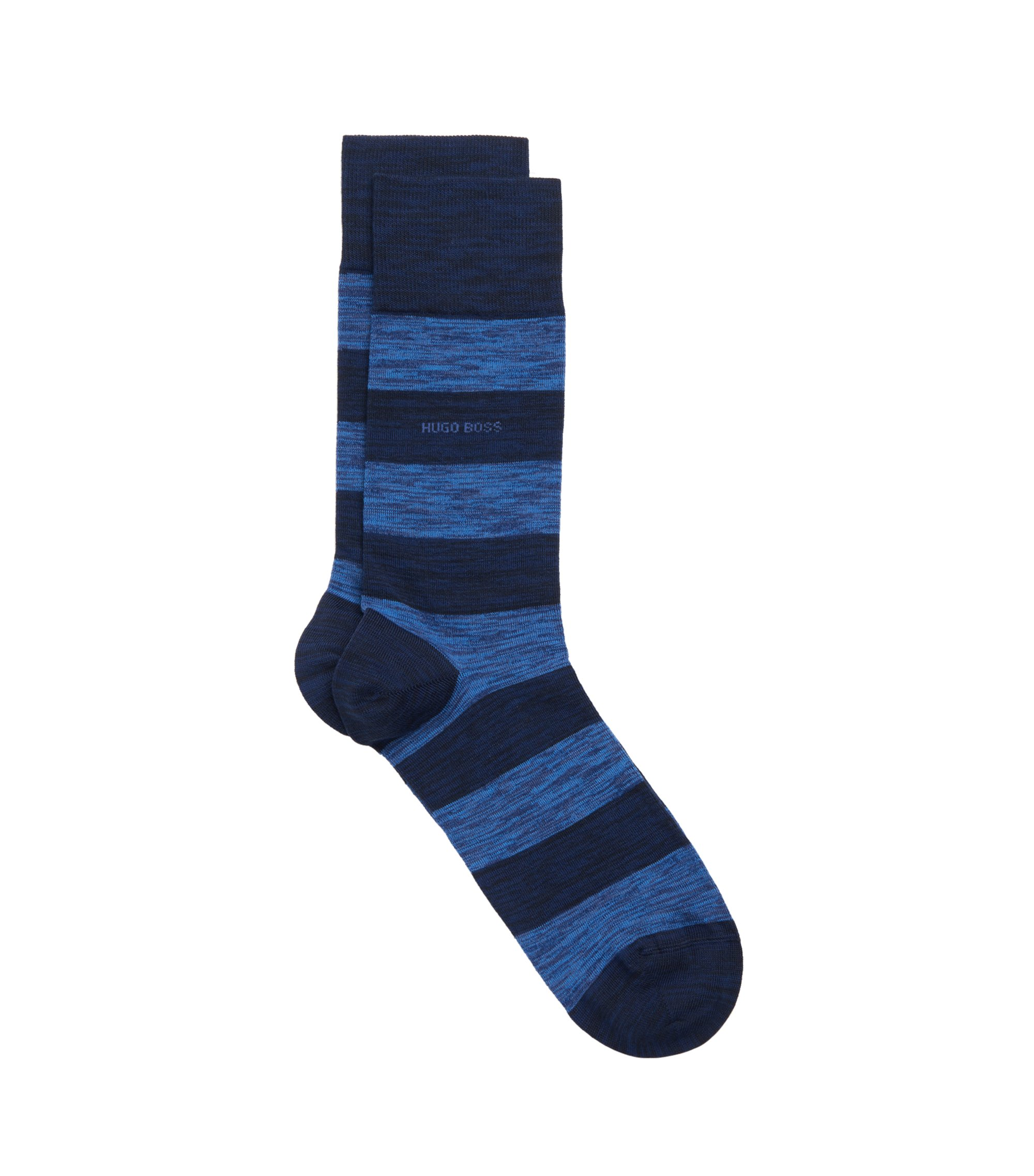 Striped Stretch Cotton Blend Socks | RS Design US, Dark Blue