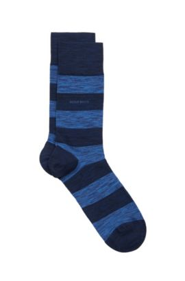 'RS Design US' | Striped Stretch Cotton Blend Socks, Dark Blue