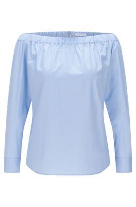 'Bagiana' | Stretch Cotton Carmen Blouse, Turquoise