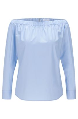 'Bagiana' | Stretch Cotton Carmen Blouse, Turquoise