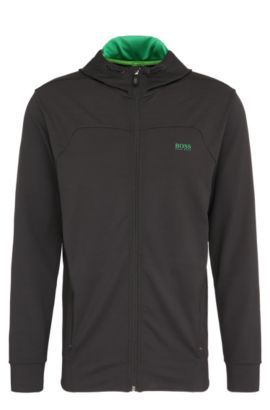 'Saggytech' | Tech Jersey Hooded Sweat Jacket, Black