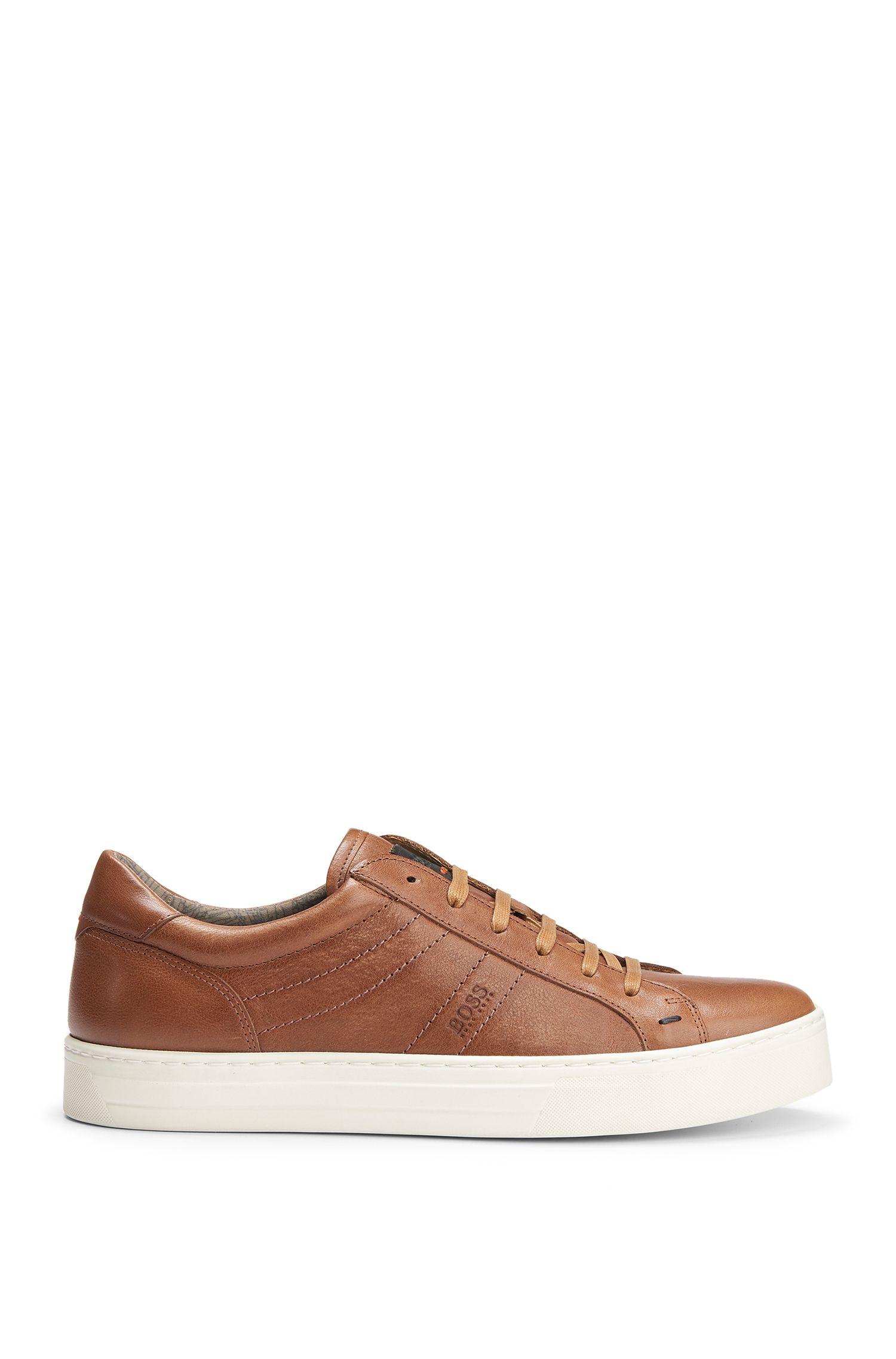 Calfskin Vintage Sneaker   Noir Tenn Itws, Brown