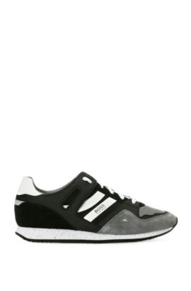 Leather and Textile Sneaker | Adrenal Runn Mx, Open Grey