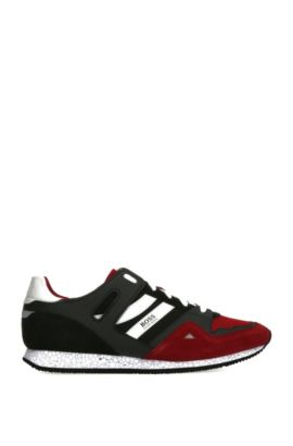 Leather and Textile Sneaker | Adrenal Runn Mx, Open Red