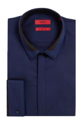 Royal Oxford Easy Iron Cotton Dress Shirt, Extra-Slim Fit | Etris, Blue
