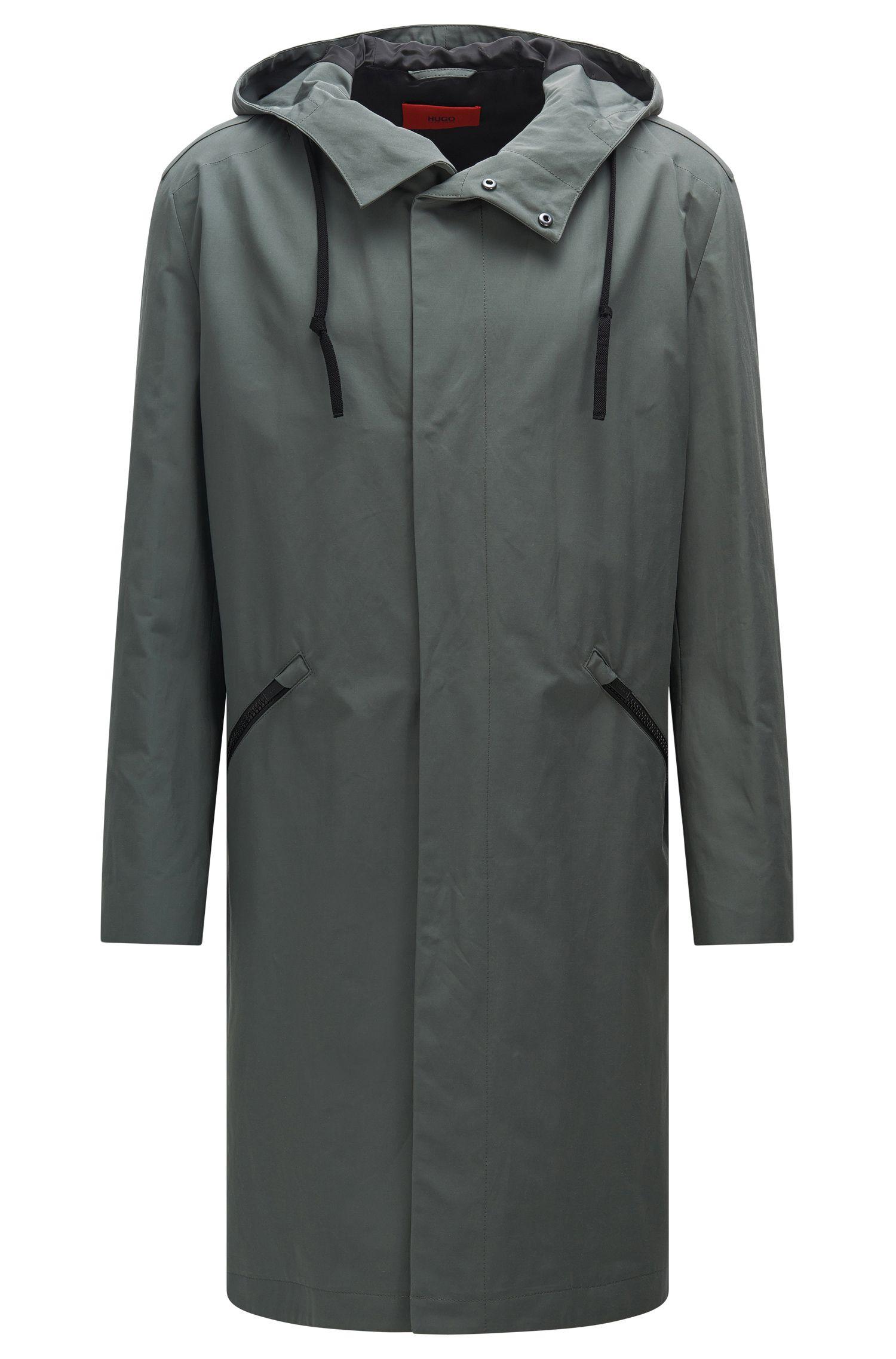 'Menjon'   Cotton Blend Water-Repellent Hooded Rain Coat