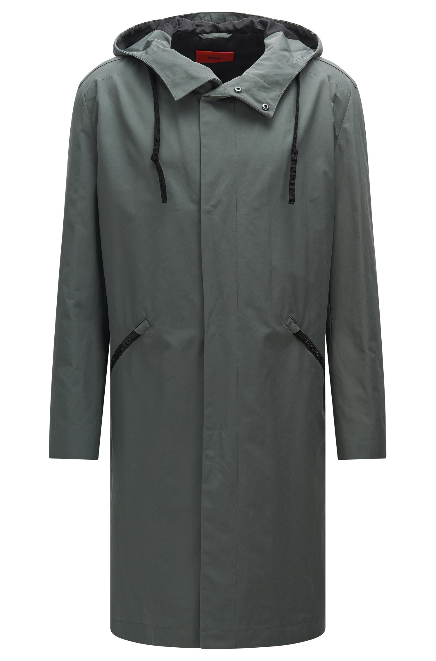 'Menjon' | Cotton Blend Water-Repellent Hooded Rain Coat