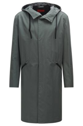 'Menjon' | Cotton Blend Water-Repellent Hooded Rain Coat, Dark Grey