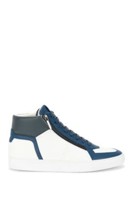 'Futurism Hito Exo' | Leather High-Top Sneakers, Open Blue
