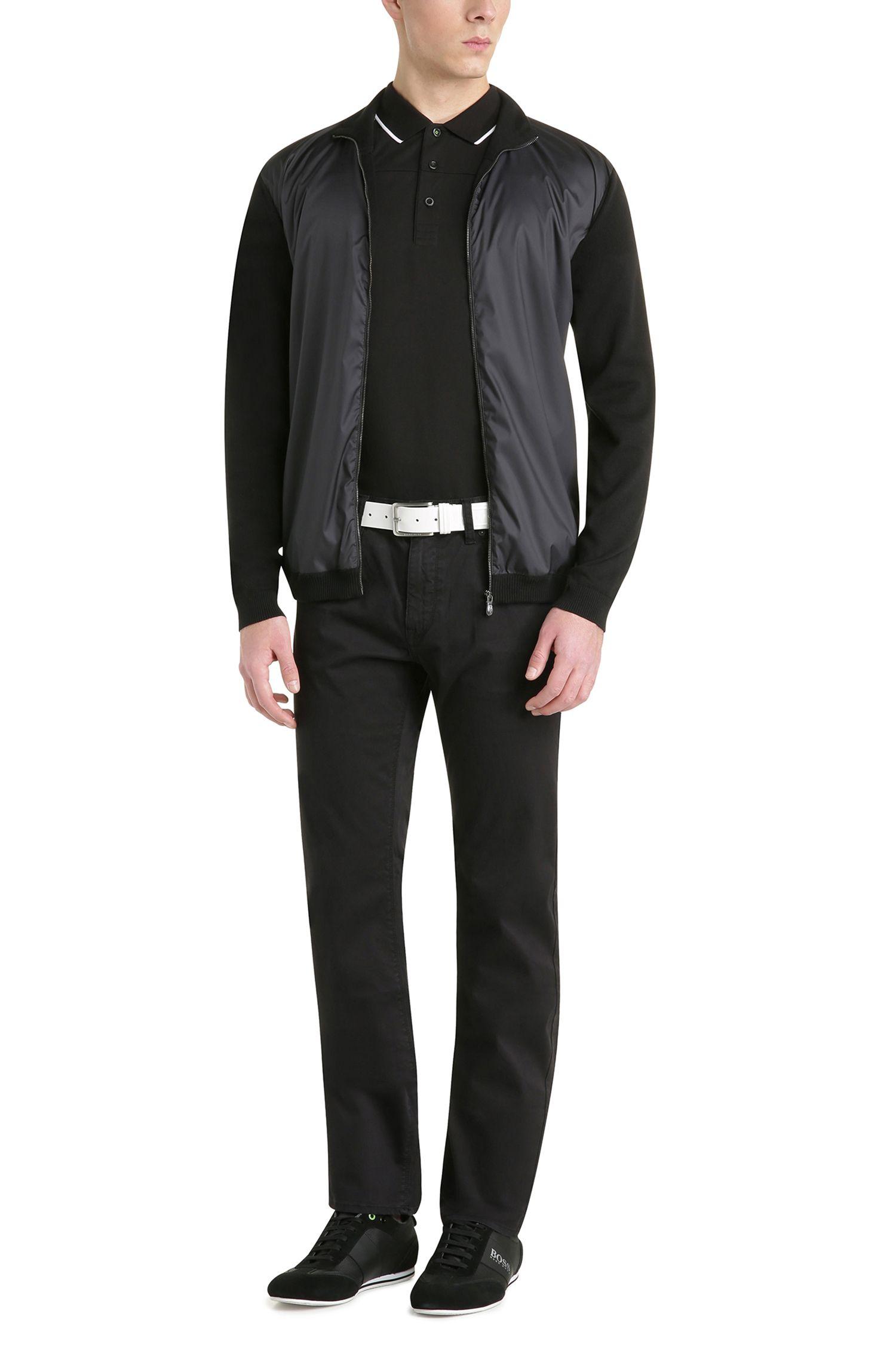 Cotton Polo Shirt, Slim Fit | Paule, Black