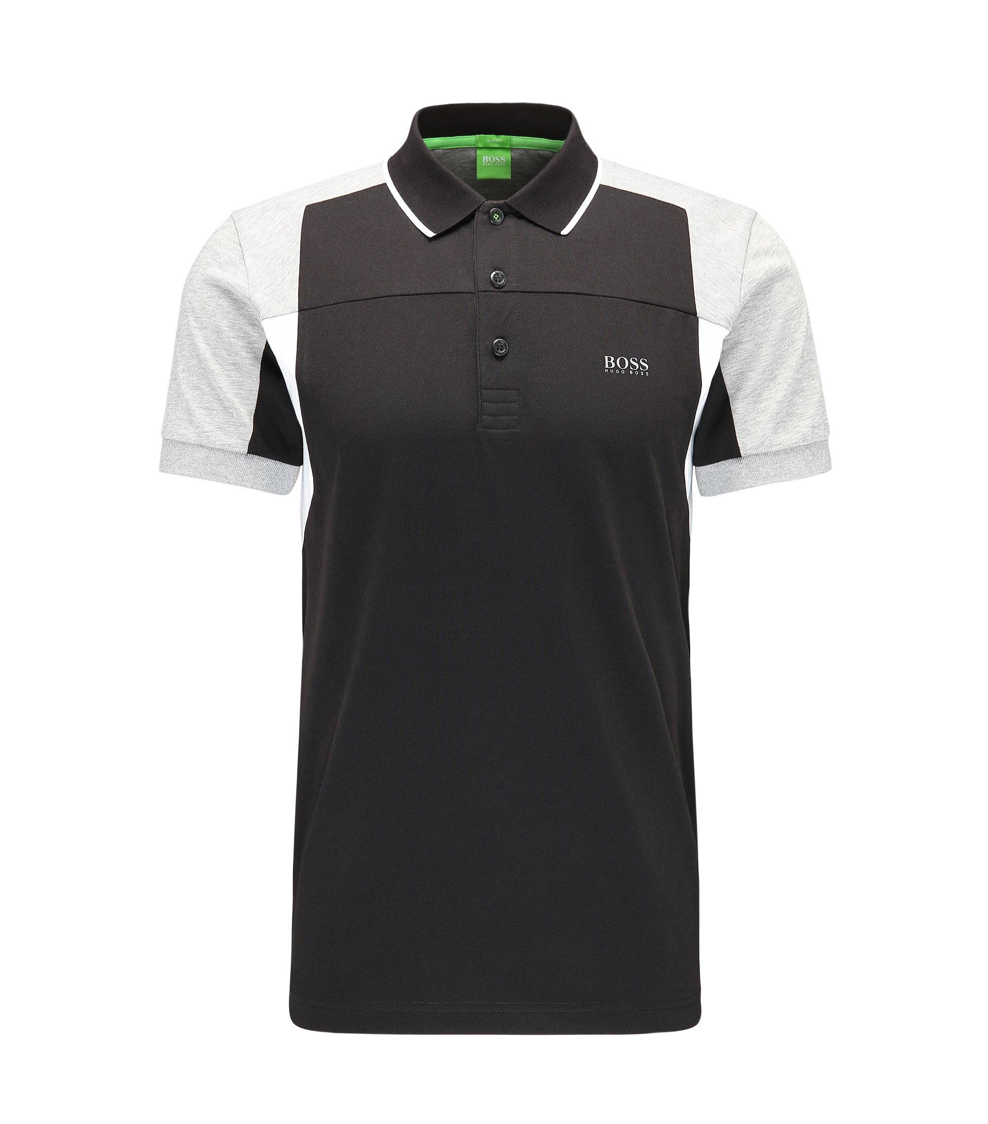Cotton Polo Shirt, Slim Fit | Paule, Black