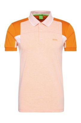 'Paule' | Slim Fit, Cotton Polo Shirt, Open Orange