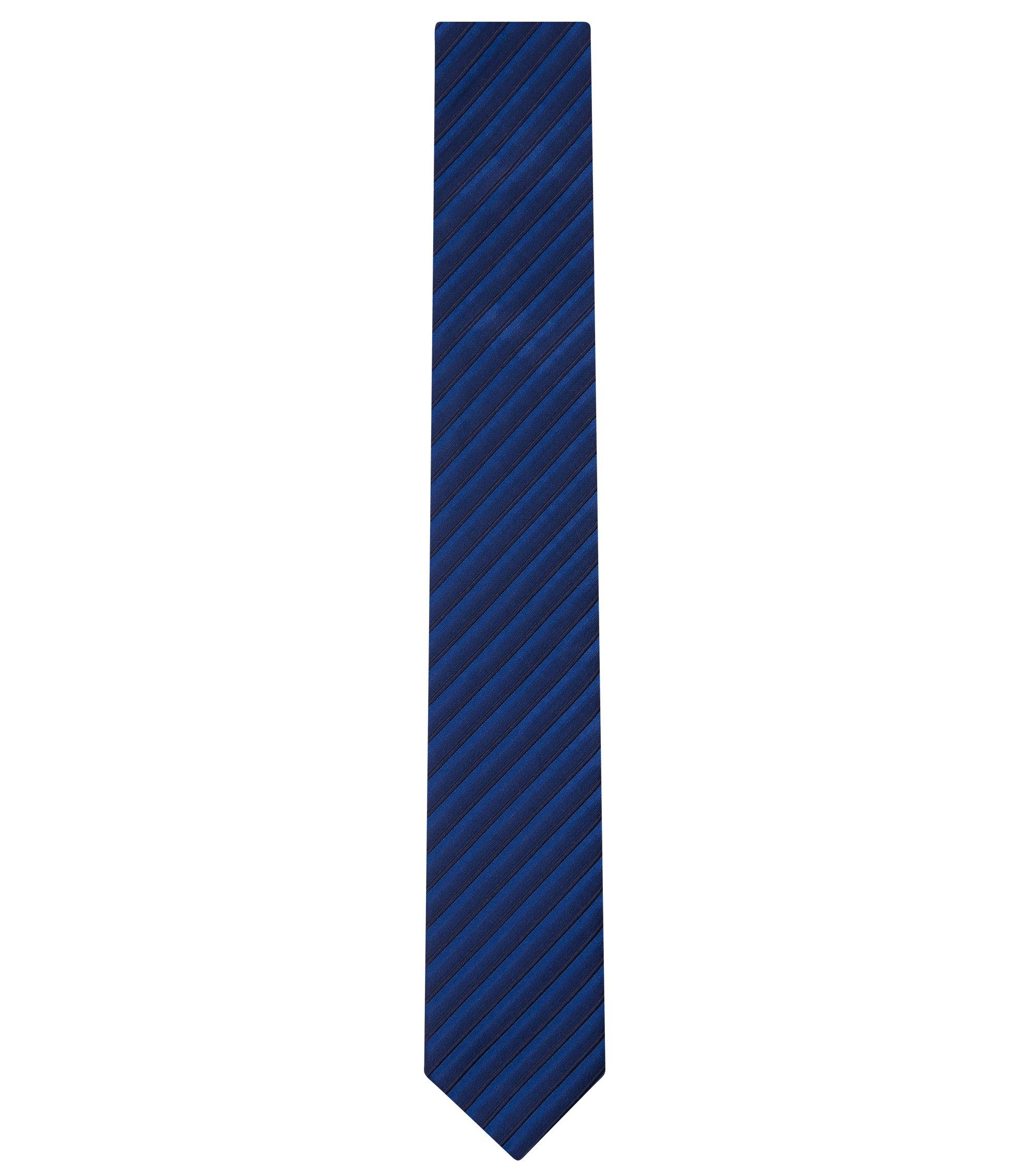 Striped Cotton Silk Slim Tie, Blue