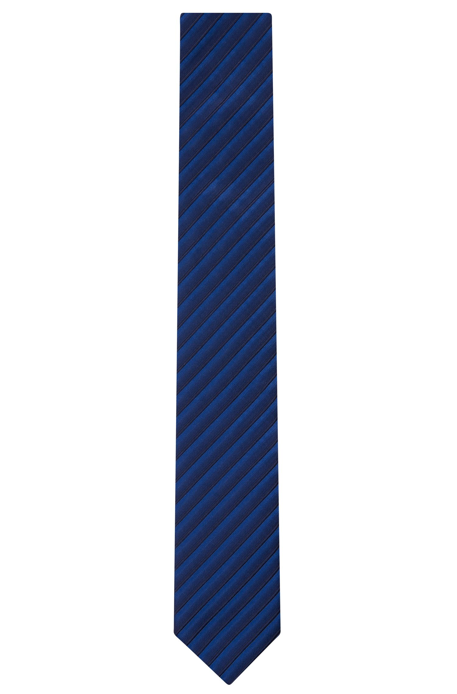 Striped Cotton Silk Slim Tie, Blue