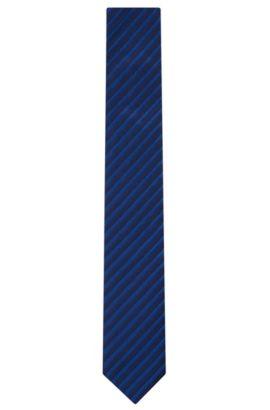 Striped Cotton Silk Tie, Slim | Tie 6 cm, Blue